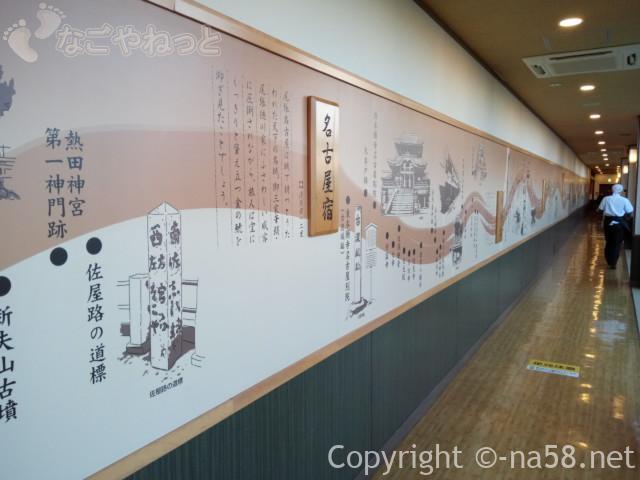 稲沢ぽかぽか温泉の廊下、美濃路街道