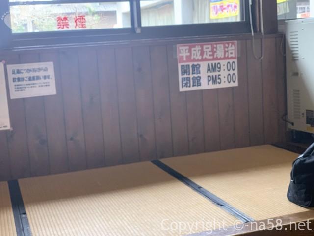 道の駅平成の足湯治・畳敷きのスペースあり