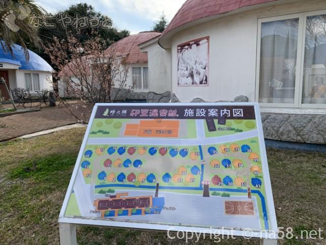 伊豆市時之栖のコテージホテル「オリーブの木」の配置図