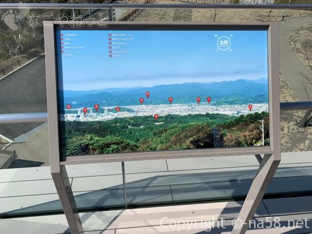 日本平夢テラスの3階、展望テラスの案内板
