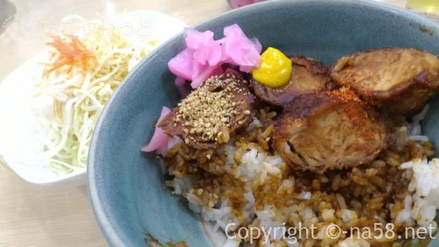名古屋駅のエスカ地下街の矢場とん、ひれかつ丼に辛子などを