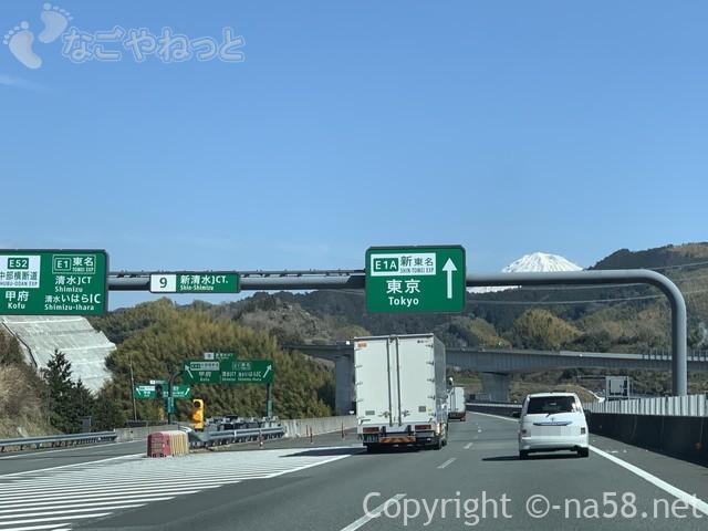 富士山が見えてきたところ、新東名のぼり清水ジャンクション近く20190316