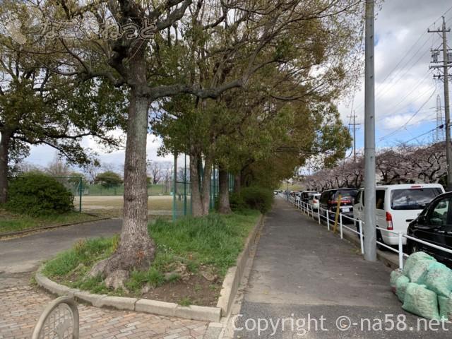 蛇池公園(名古屋市北区西区)南の広い道路で路上駐車