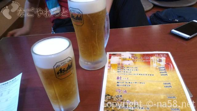 庄内温泉「喜多の湯」の食事処でビール