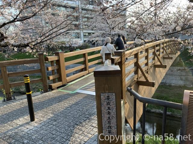 山崎川桜花見、鼎小橋と周辺の桜