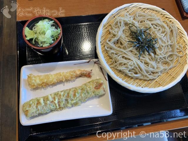 十割そばじゅうべえ七宝店、ランチ昼食、ざるそばと天ぷら
