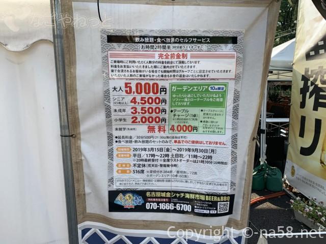 名古屋城金シャチ横丁義直ゾーンのビアガーデン、海鮮食べ飲み放題利用料金
