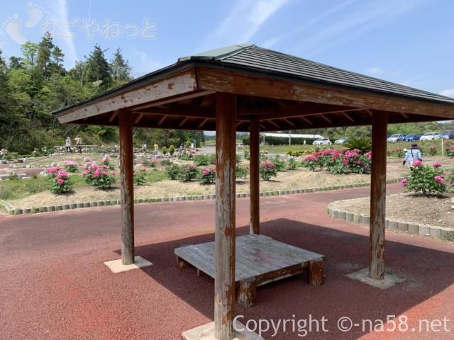 いなべぼたんまつり(三重県いなべ市)ボタン園の中に東屋休憩所も