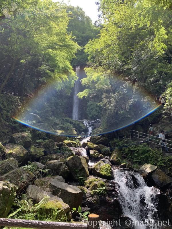 養老の滝(岐阜県養老郡養老町)を振り返り虹