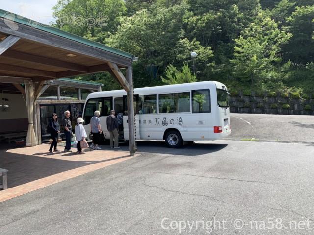 南濃温泉「水晶の湯」の無料シャトルバス、帰りも玄関から