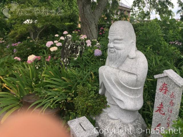 遠州あじさい寺本勝寺のあじさい、寿老人とあじさい(静岡県掛川市)