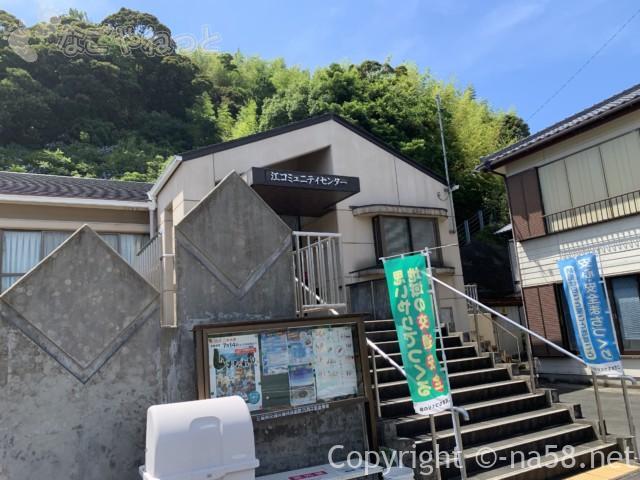 太江寺の駐車場、コミュニティセンターの駐車場も(三重県伊勢町)