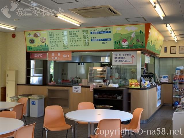「とだがわこどもランド」(名古屋市港区)のレストハウス内、メニュー
