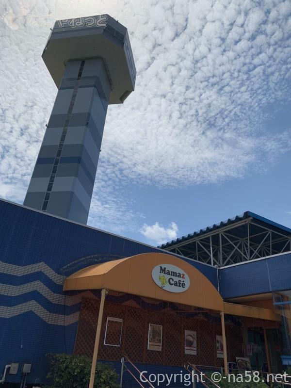 Mamaz  Cafe ままずカフェ(岐阜県海津市)外観、水と緑の館(展望タワー)と