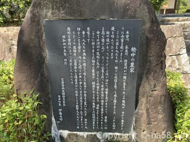 輪中の農家(木曽三川公園の北ゾーン)岐阜県海津市・解説石碑
