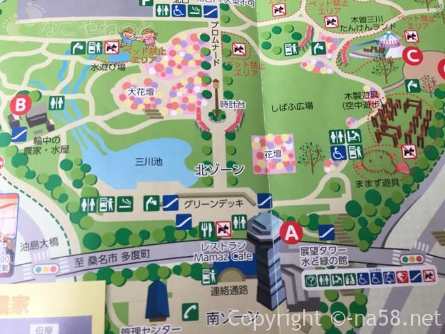 木曽三川公園センター(岐阜県海津市)北ゾーンの案内図