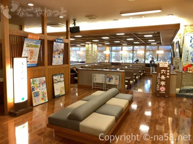 六条温泉喜多の湯(岐阜県岐阜市)一階、食事処と休憩所