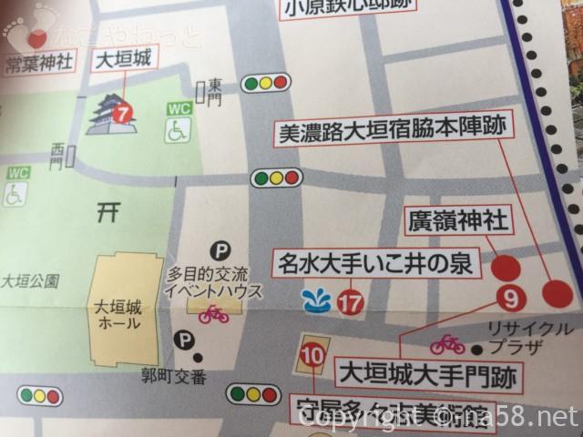 大垣城そばの「名水大手いこ井の泉」涌き水の位置と地図