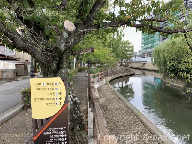 城下町大垣観光・四季の路の散策、道標と新築工事の市役所