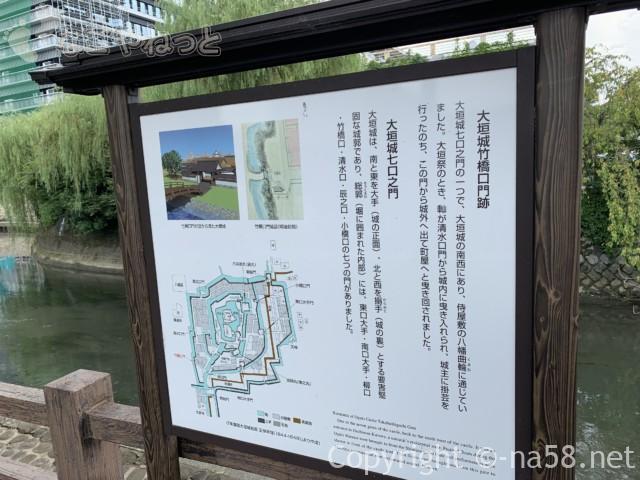城下町大垣観光・四季の路の散策、竹橋口門跡と解説