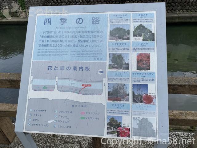 城下町大垣観光・四季の路の散策、草木の解説