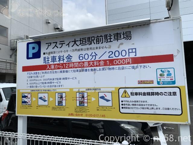 大垣駅の駅ビル「アスティ大垣」のとなりのコインパーキング