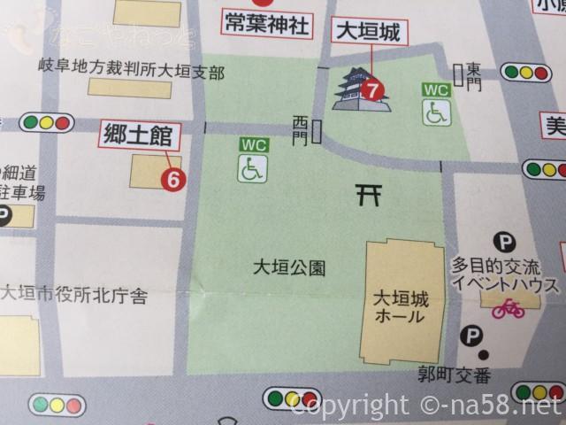 大垣城(岐阜県大垣市)と大垣公園の地図