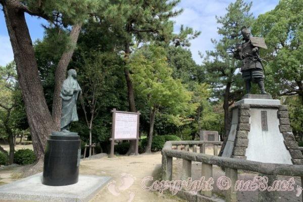 織田信長と濃姫銅像・清洲古城跡公園/ 清洲城の周辺/ランチは(愛知清須)