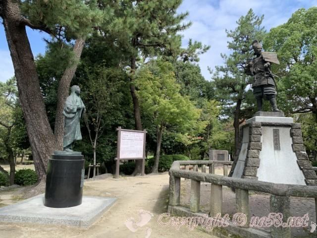 織田信長と濃姫の銅像(清須城そばの清洲公園)、愛知県清須市