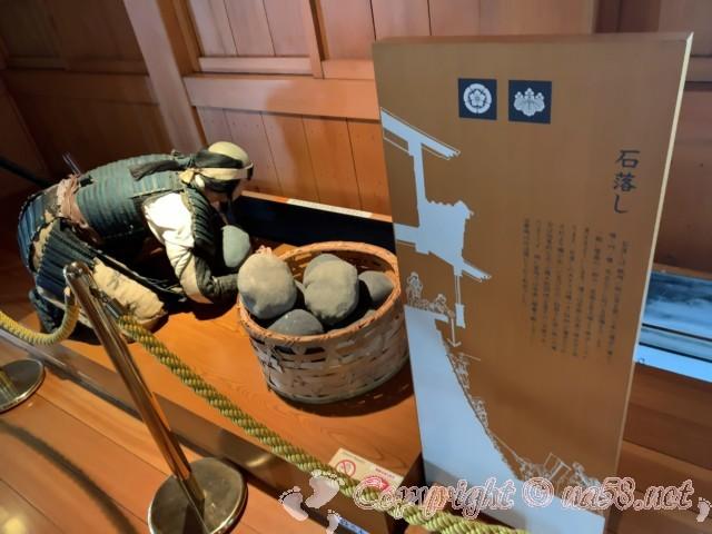 清州城(愛知県清須市)内の展示、石落とし