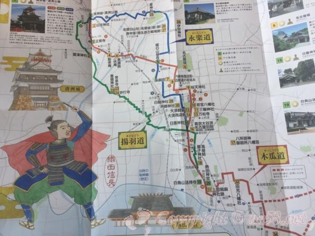 「日吉神社」愛知県清須市、日吉神社にあった信長攻略マップ