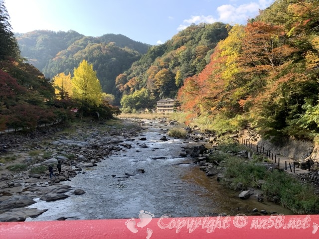 2019年11月13日待月橋(たいげつきょう)からの紅葉の風景(愛知県豊田市香嵐渓)