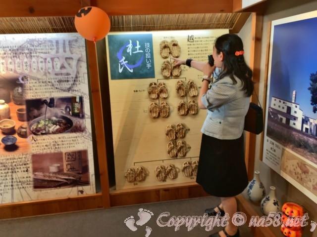 「酒の文化館」(愛知県半田市)スタッフの方が案内中、杜氏の履物