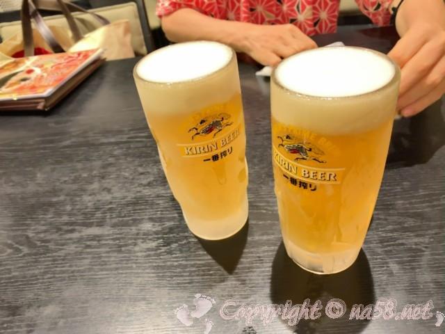 「みどり館」愛知県半田市、レストラン「美波」にて生ビール