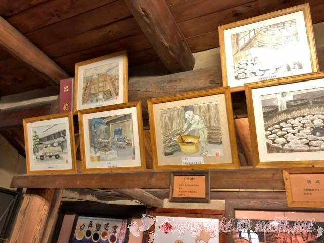 醸造「伝承館」(愛知県半田市)、味出荷風景までの作業を絵にして飾ってある