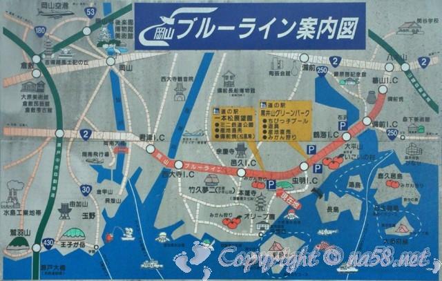「道の駅一本松展望園」岡山県瀬戸内市、ブルーラインの地図