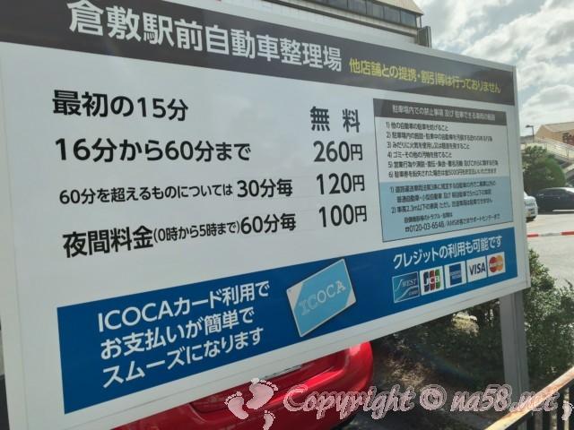 倉敷駅前駐車場(岡山県倉敷市)料金表