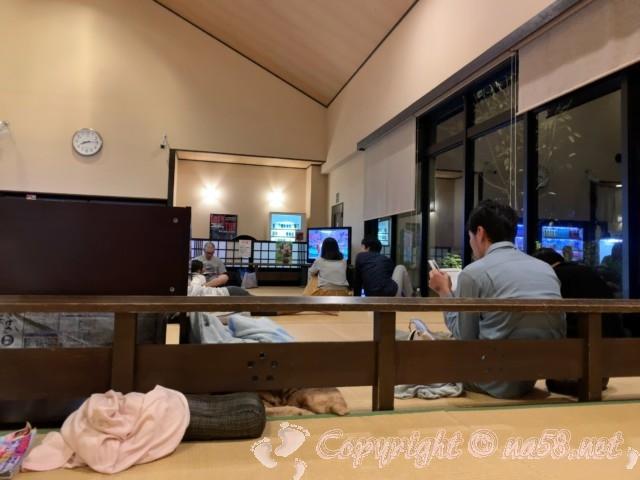 天然温泉湯庵(兵庫県三木市)畳の休憩所、テレビあり