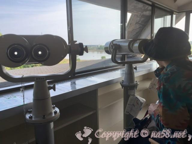 弥富野鳥園(愛知県弥富市)の3階で大型双眼鏡から水鳥を観察してみる