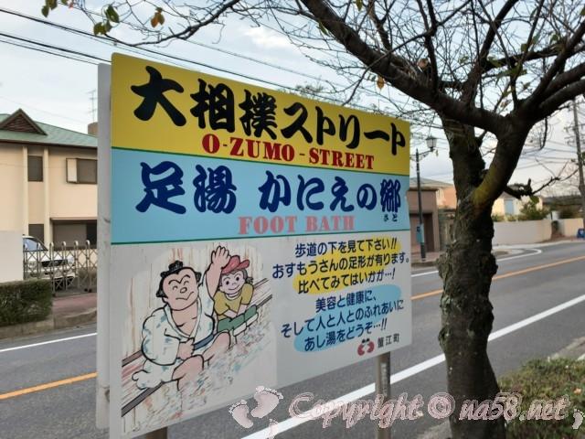 大相撲ストリートと足湯かにえの郷の案内版(愛知県蟹江町)