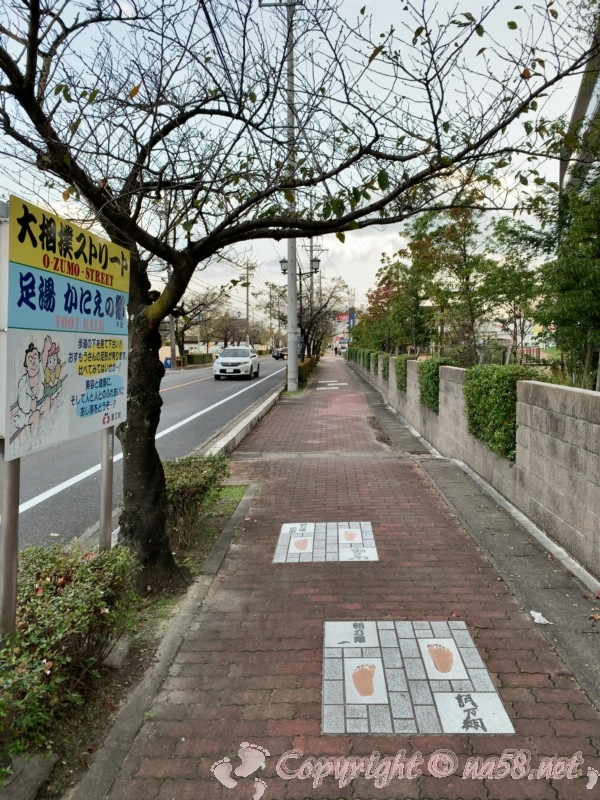 大相撲ストリートと足湯かにえの郷の案内版(愛知県蟹江町)足型