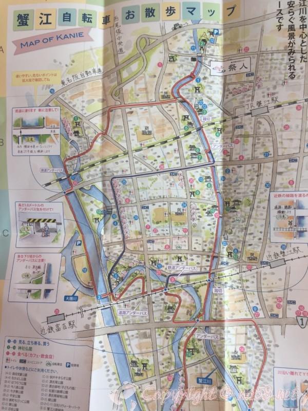 愛知県蟹江町の蟹江観光交流センター祭人、蟹江自転車周遊マップ