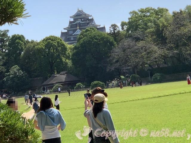 岡山後楽園(岡山県岡山市)から見る岡山城