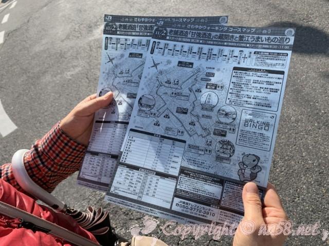 JR東海蟹江駅のコースの始まりで、コースマップをもらう