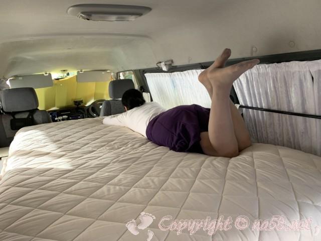 車中泊用の伸縮ベッド自作・セミダブル豪華マットレスで熟睡!