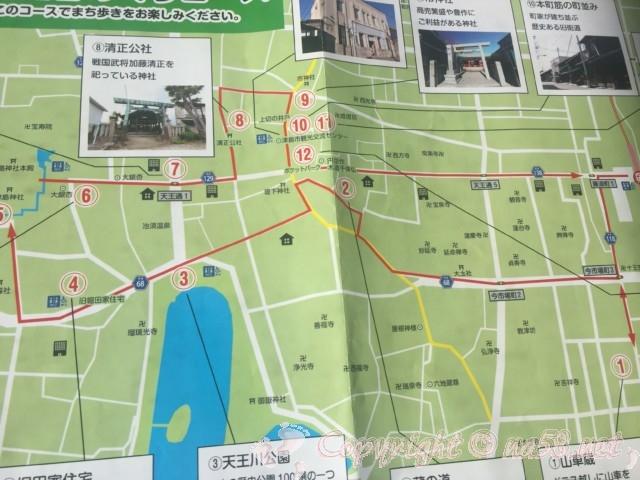 「津島の魅力定番めぐりコース」(愛知県津島市)赤線でおすすめルートとスポット案内