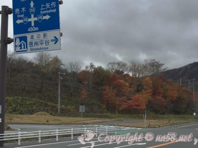 「道の駅信州平谷」(長野県平谷村)国道153号線と案内標識と付近の光景