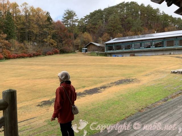 ネバーランド(長野県根羽村)の広場、コテージ付近