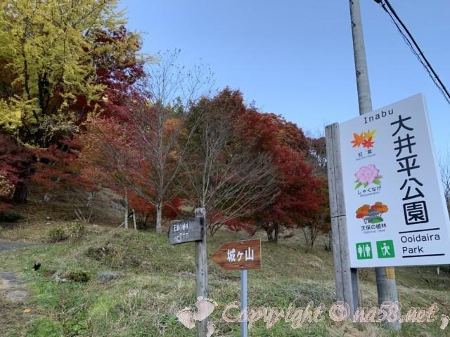 大井平公園(豊田市稲武町)の案内板