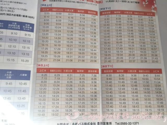 「小原の四季桜」愛知県豊田市、とよたおいでんバス小原・豊田線(有料)